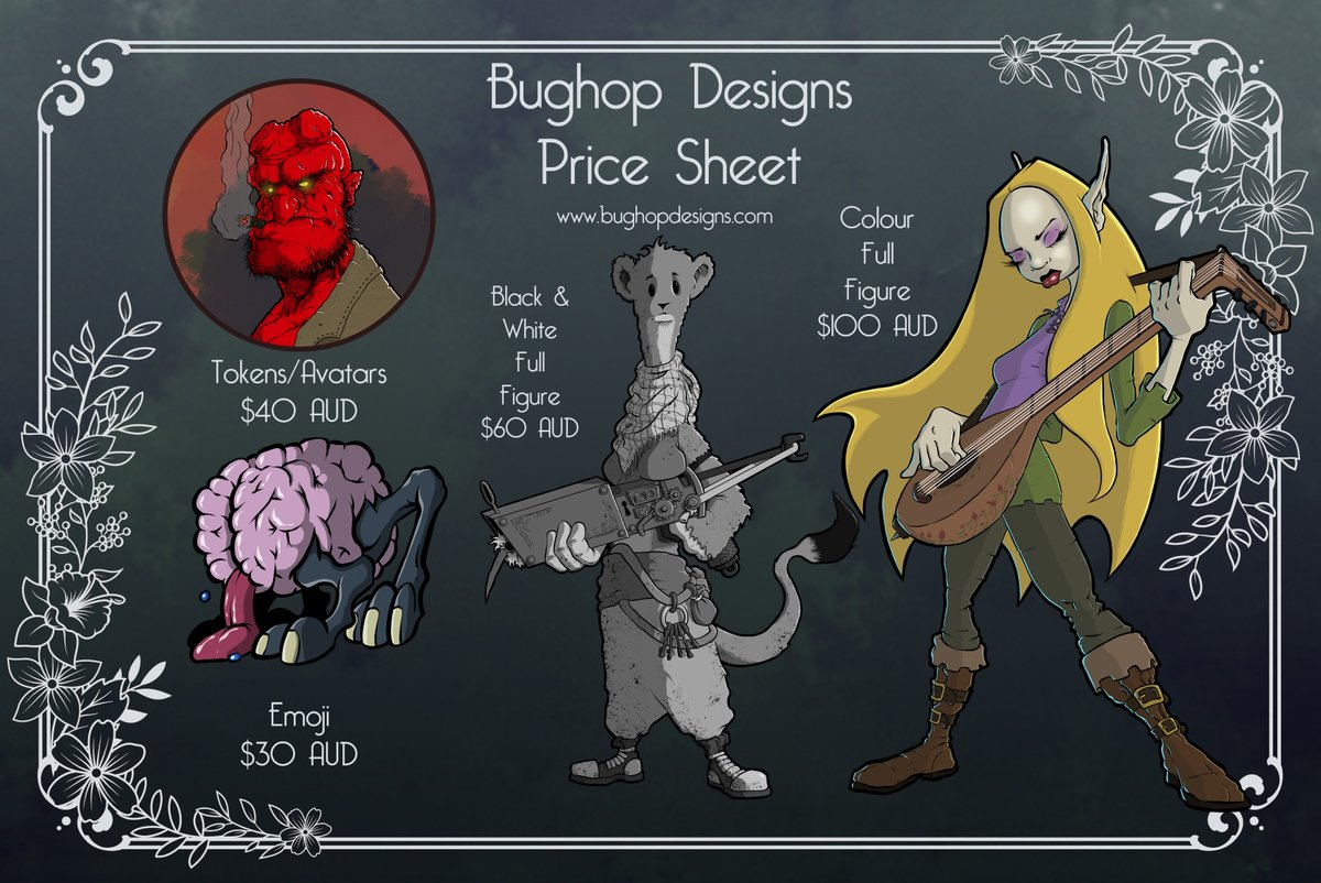 Time to update my Pinned Price Sheet.  Feel free to contact me at any time for your latest Homebrew creature, favourite character or whatever you wish me to draw. #commissionsopen #dndart #dndartists #DigitalArtist