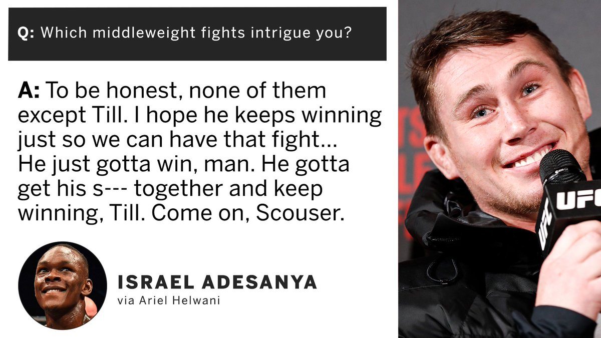 "ESPN MMA's tweet - ""Israel Adesanya hasn't given up on Darren Till as a potential opponent 👀 (via @arielhelwani) "" - Trendsmap"