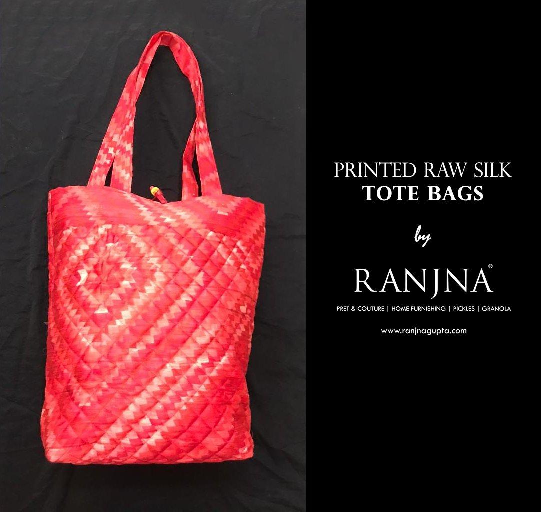 Printed Raw Silk Tote Bags by RANJNA...  #tote #totebag #bag #totebags #fashion #bags #handbag #handmade #shoulderbag #handbags #style #purse #accessories #slingbag #totes #wallet #totebagcustom  #ranjna #silktotebags #totebagsbyranjna #ranjnapune #ranjnafabrics