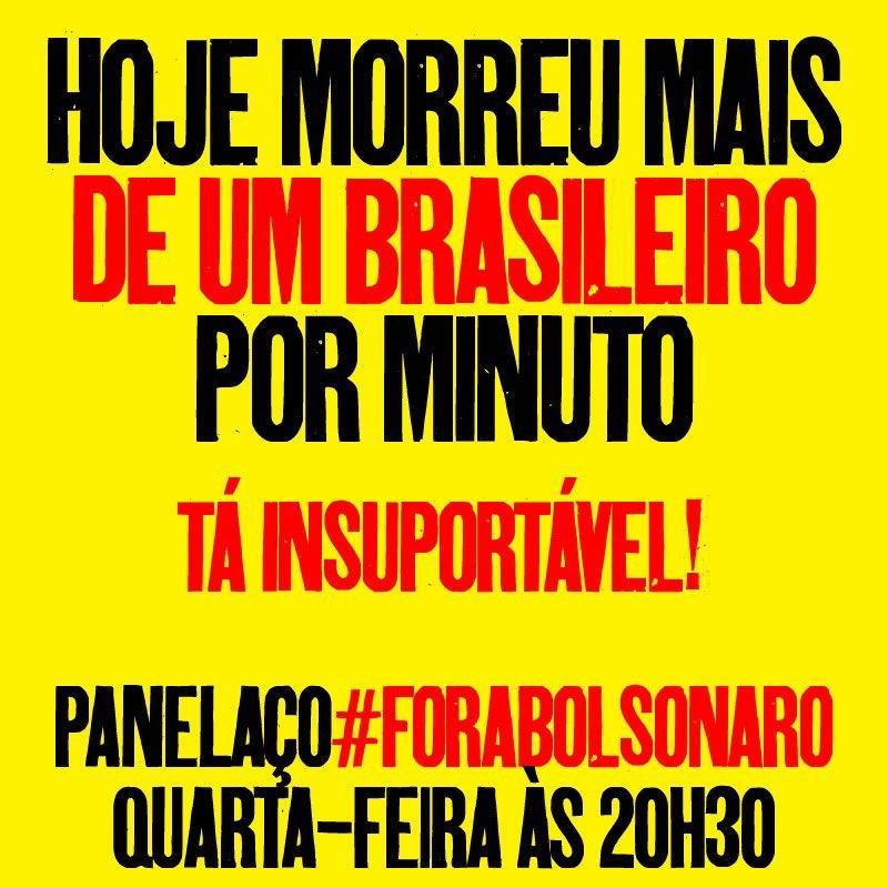 1726 mortes por covid no Brasil hoje. Mais de um brasileiro morto por minuto. https://t.co/83UueciOJC