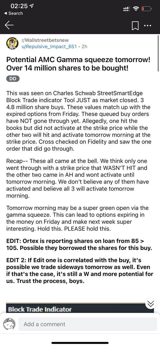 #AMC Possible #GAMASQUEEZE #tomorrow  @redditinvestors @reddit  #HOLD #saveAMC @TradesTrey  @elonmusk  #buythedip