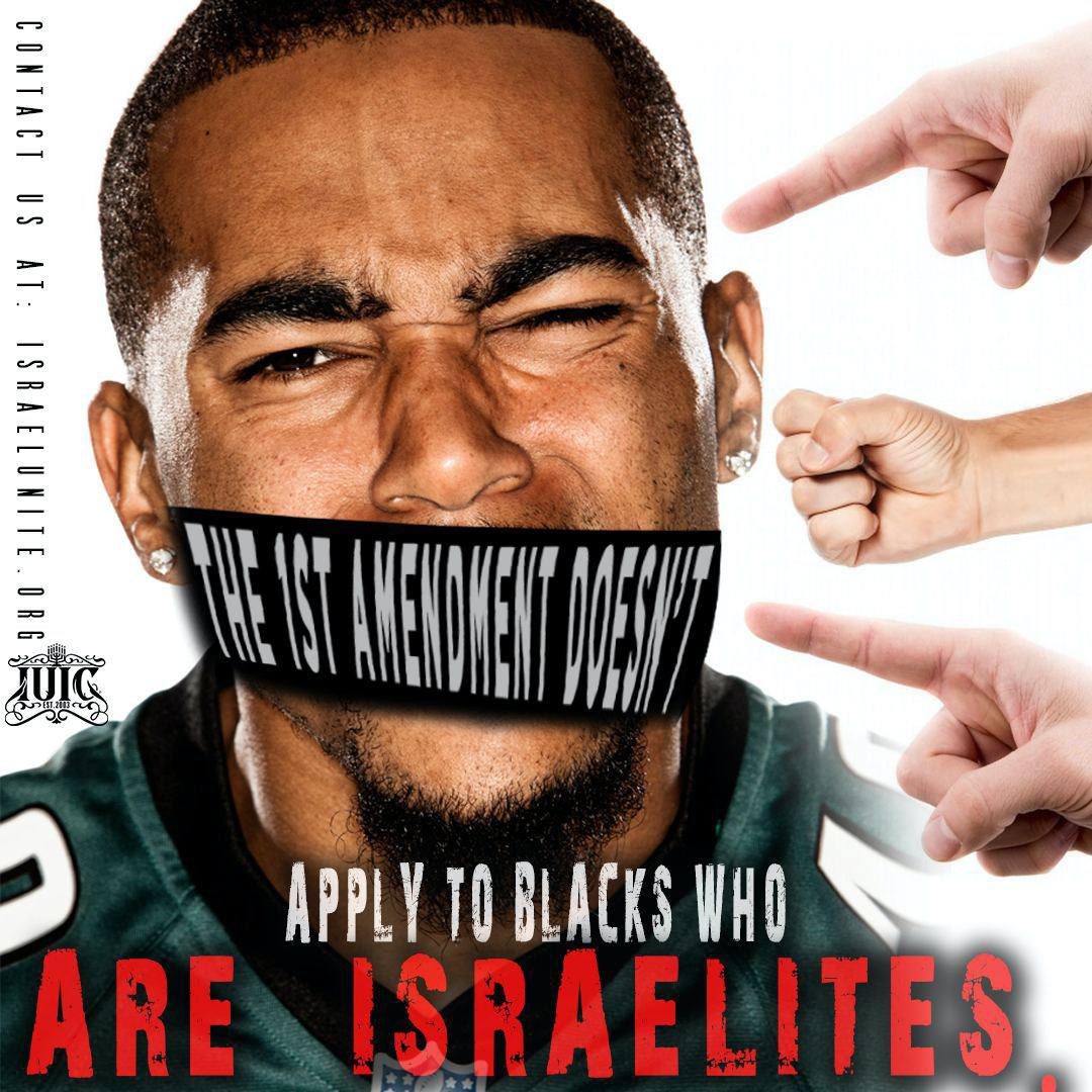 The #NFL is against #BlackMen standing up for their own people! The 1st amendment does not apply for anyone who says they are the #Israelites! Ask yourself why does the world not want #BlackMen admitting they are indeed the true children of #Israel!....
