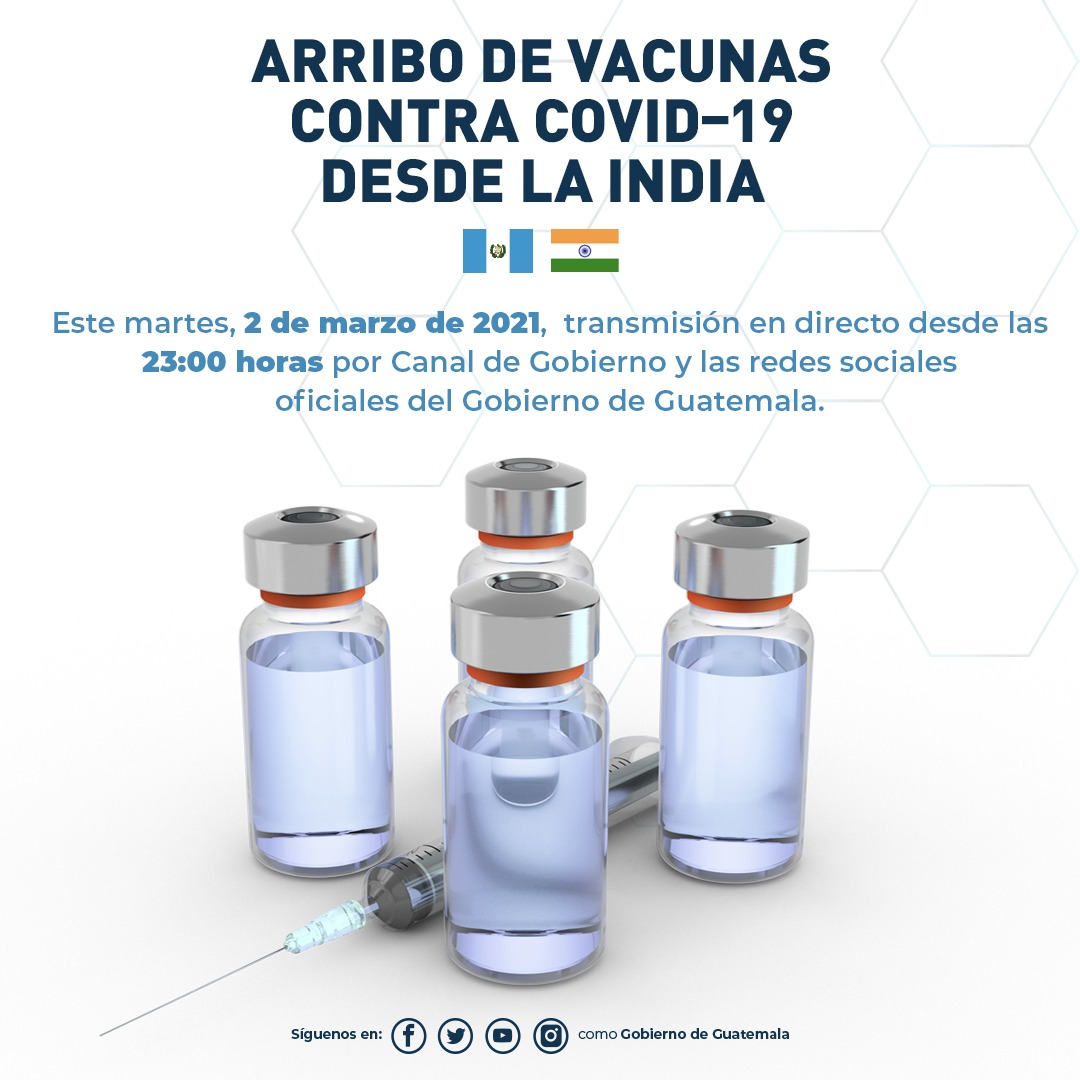 #UnidosContraElCoronavirus🦠 | Sigue la transmisión de @CanaldeGobierno esta noche por el arribo de 200 mil dosis de la vacuna contra el #coronavirus que donó #India 🇮🇳.  #AGuatemalaNadaLaDetiene🇬🇹 #JuntosSaldremosAdelante