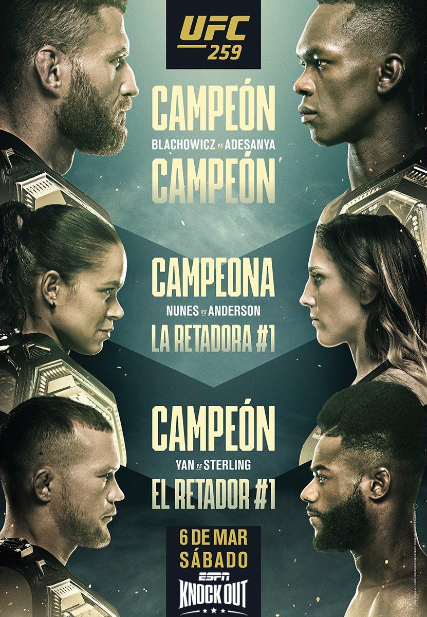 Este sábado, tripleheader en #UFC259   👊 Jan Blachowicz vs Israel Adesanya (Título UFC 🏆 semicompleto)  👊 Amanda Nunes vs Megan Anderson (Título UFC 🏆 pluma)  👊 Petr Yan vs Aljamain Sterling (Título 🏆 UFC gallo)   Y sí, la velada irá 🔥 EN VIVO 🔥 por #ESPNknockOut