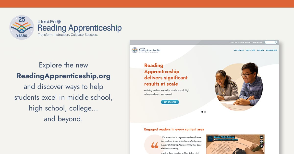We are celebrating 25 years of #readingapprenticeship! Visit our newly updated website and join our community, access the resource library, and check out our professional learning services for educators! https://t.co/SNcwkvTCrF #pd #edchat #literacy @WestEd https://t.co/JCiGRdE3AQ