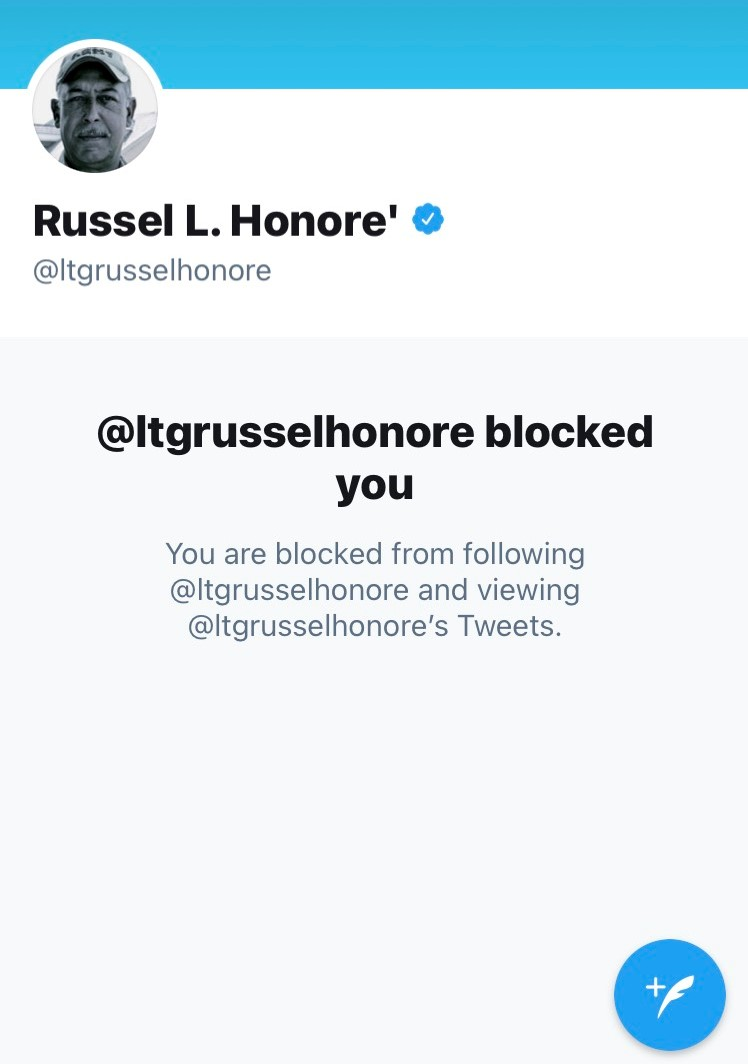 Replying to @RepMattGaetz: Russel Honoré blocked me on Twitter for tweeting his own words at him.