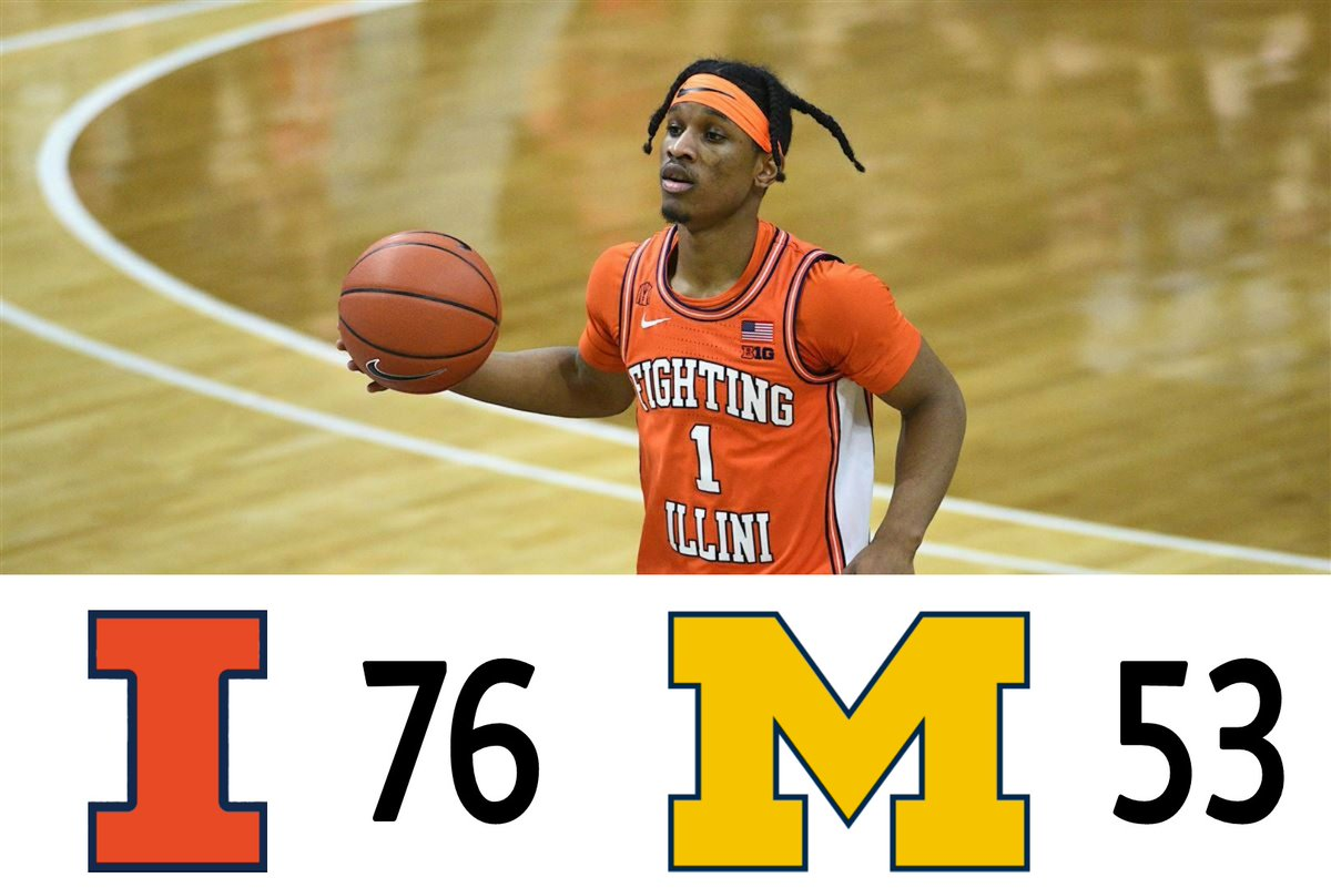 No Ayo? No problem. Trent Frazier drops 22 points and grabs 4 rebounds to upset Michigan on the road! #ILLvsMICH