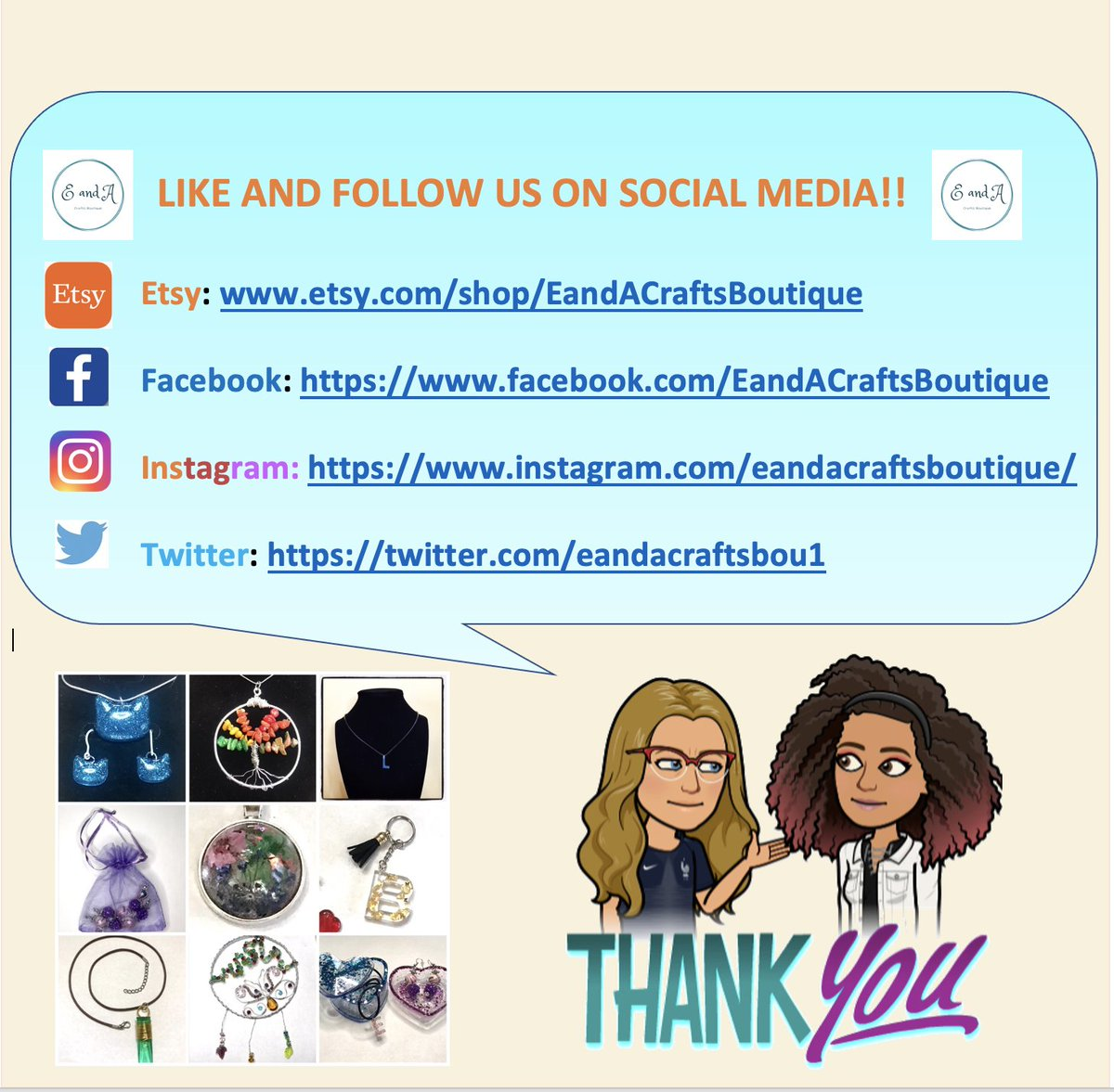 LIKE AND FOLLOW US ON SOCIAL MEDIA!!  Etsy:    Facebook:   Instagram:    Twitter:    #etsy #etsysellers #EandACraftsBoutique #resin #Handmade #MotherDaughter #familybusiness
