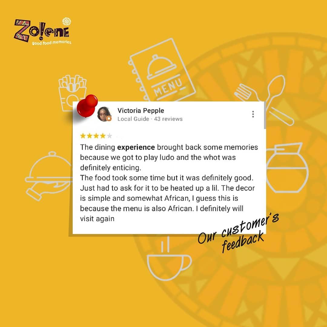 Customer satisfaction at it's best form.  Zolene - The haven of good food✨  ➖➖➖➖➖➖➖➖➖➖➖➖➖➖  #zolenedining#zolene#saturdayvibes#familytime#lagisng#kidfriendlyrestaurant#localfood#lekkihomes#lostinlagos#restaurantinikoyi#Bestrestaurantinikoyi#ikoyispot