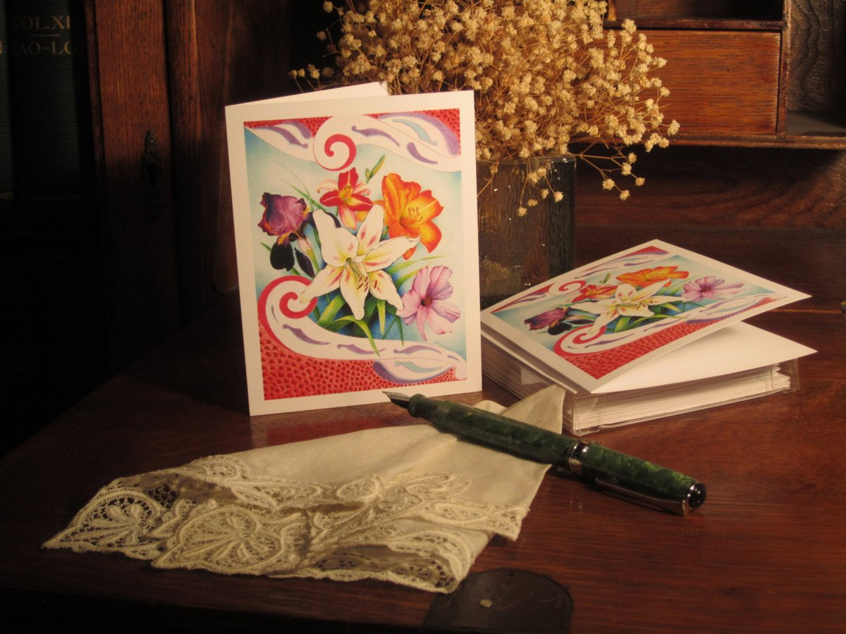 "Art Deco Floral Fine Art Note Cards, Handmade Fine Art Reprint (""Euphoria"") - Blank Card Set (6) - FREE SHIPPING  #Handmade #fineartforsale #TMTinsta #EtsyTeamUNITY #IrisNoteCards"