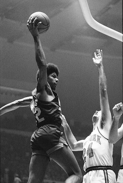 """""""Old Days""""Julius Erving rises above Bill Bradley during a 1973  Nets-Knicks preseason game at Madison Square Garden.#NBA #ABA #Nets #NYC #Knicks #1970s"""