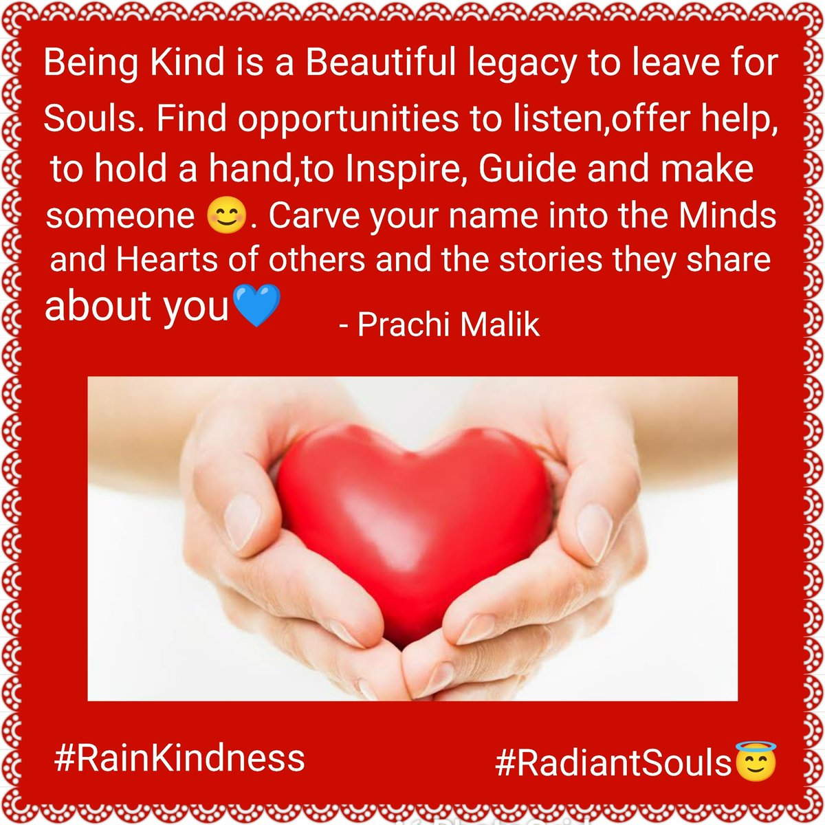 Being #Kind is a beautiful #legacy to leave for Souls!😇💛 #WednesdayWisdom #RainKindness #JoyTrain