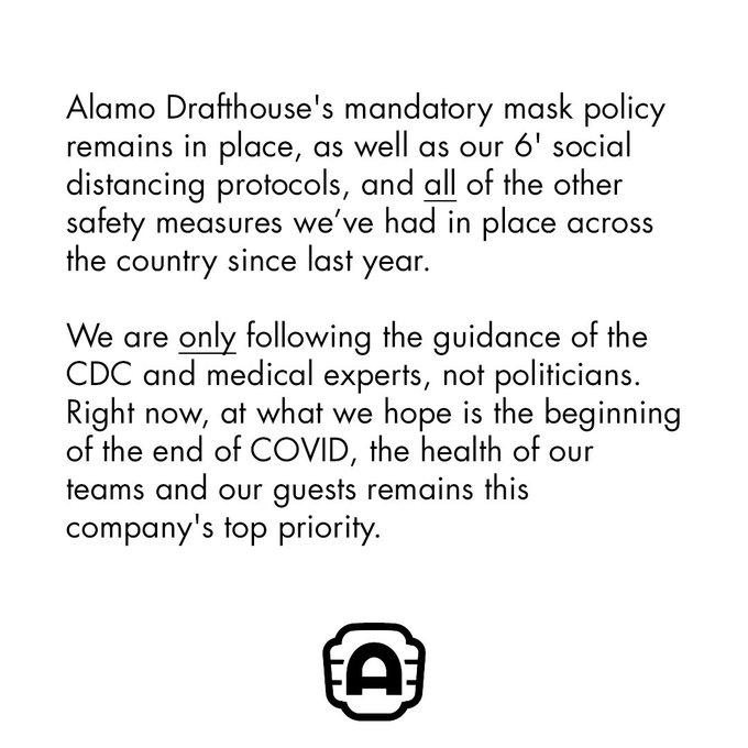 Alamo Drafthouse Cinema COVID-19 Policy, 03/02/2021