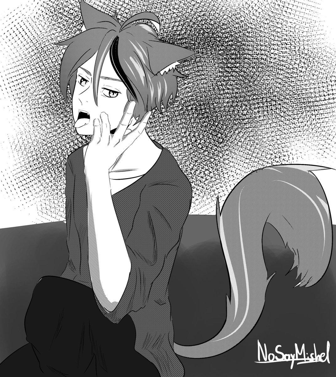 Lyon normalito Intenté experimentar con el blanco y negro y las tramas.   #ocart #uwu #animepictures #ClipStudioPaint #animeart #anime #newart #mangaart #blackandwhite #CatBoy #animecat