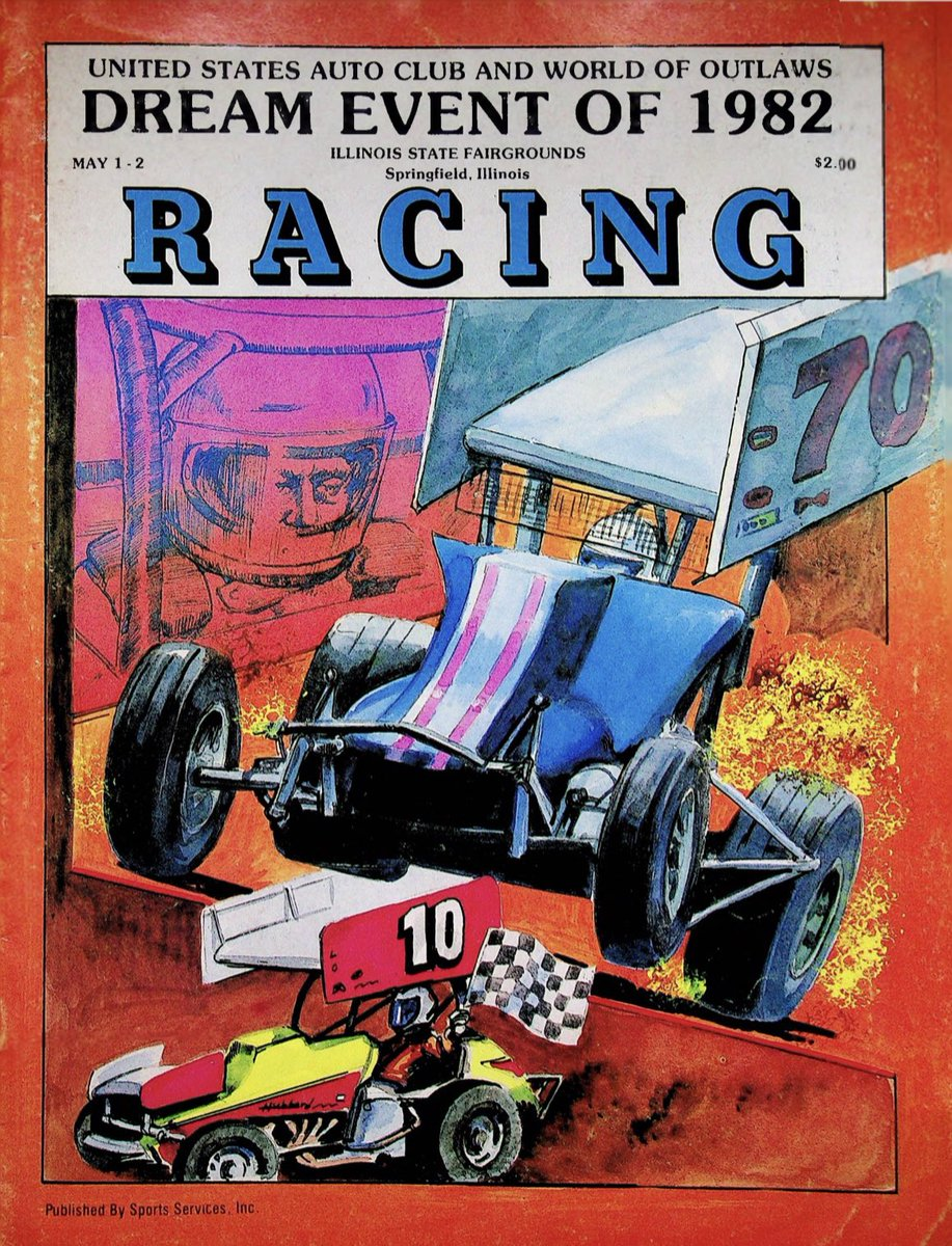 More gold on :  The Dream Event of 1982.  @WorldofOutlaws & @USACNation Silver Crown at Springfield Mile, including a team race.  𝗨𝗦𝗔𝗖: Bettenhausen, Bigelow, Hewitt, Rice, Schrader, Vogler 🆚 𝗪𝗼𝗢: Kinser, Marshall, Shirley, Smith, Swindell, Wolfgang