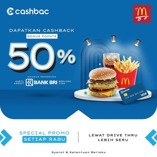 WOW Wednesday 🤩  🍔🍟🍔🍟🍔🍟🍔🍟🍔🍟  Kamu pasti tahu tiap #Rabu ada yang dinanti, 50% Bonus Points di McDonald'sdengan kartu kredit BANK BRI berlogo VISA. INFO  #mcd #mcdonald #fries #bigmac #mcdonaldsindonesia #foodphotography #yummy #mcdonaldsbreakfast