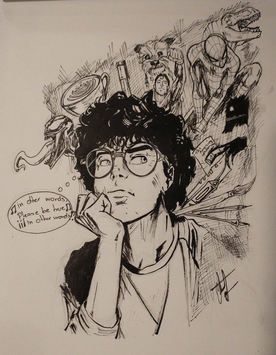 self portrait ;)   #inkdrawing #drawings #drawing #arte #spiderman #venom #dinosaurs #superman #comicartist #comicart #blackandwhite