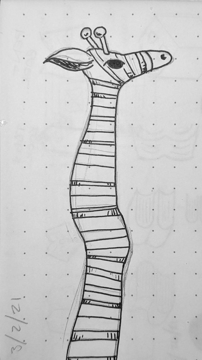 61: giraffe leg  #365DaysOfShittyArt #art #2021 #pigmamicron #ink #pen #blackandwhite #giraffe #leg #calf #sock #stocking #stripes