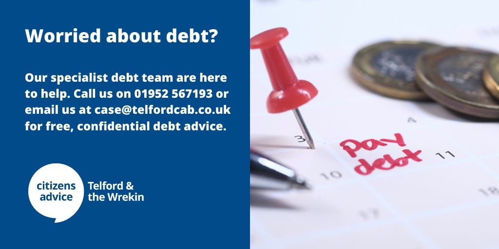 Worried about debt?        Contact our local debt team for free, confidential advice and get your finances back on track.  Call: 01952 567193 Email: case@telfordcab.co.uk  #HereForYou #Debt #DebtAdvice #Telford #NationalLockdown