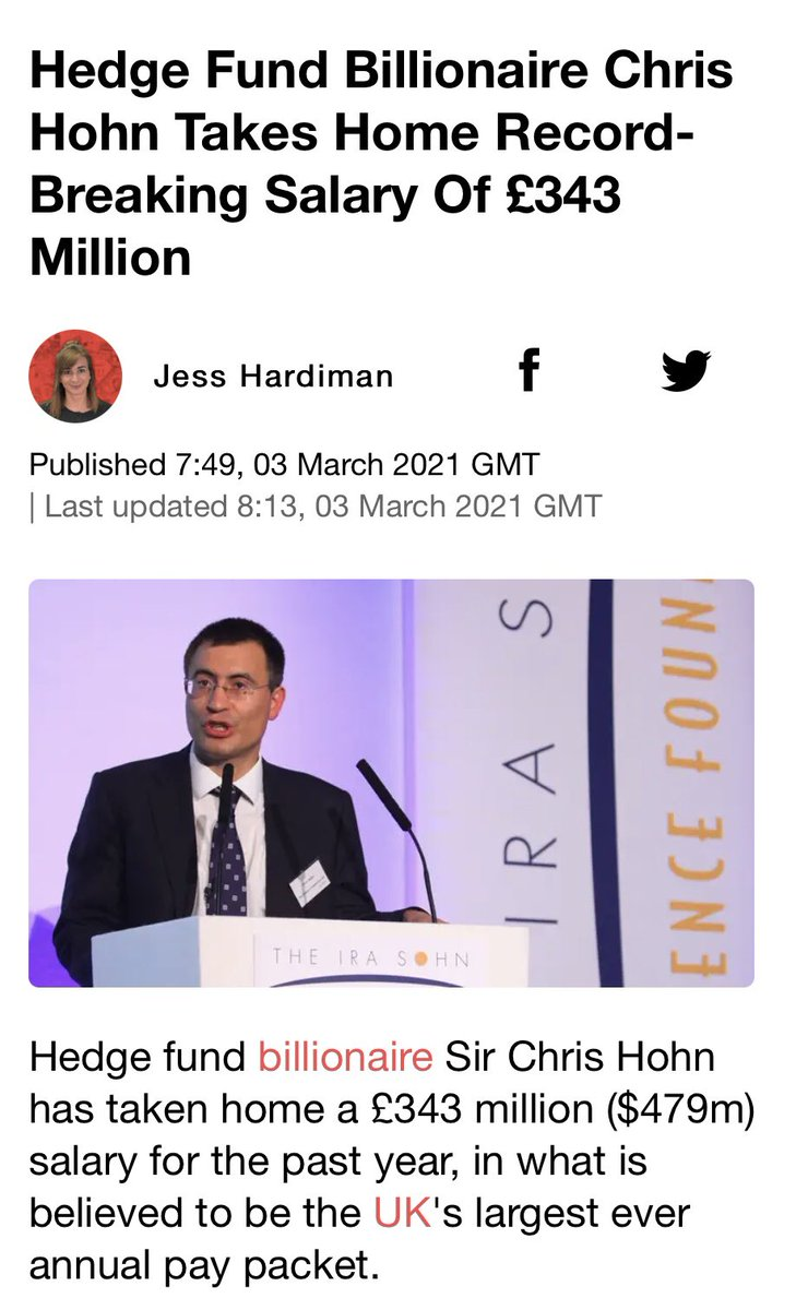Chris Hohn takes home record breaking salary of £343 million, beating the previous record of £323 million  To put that into perspective, it's £940,000 a day and 9000x the average UK salary