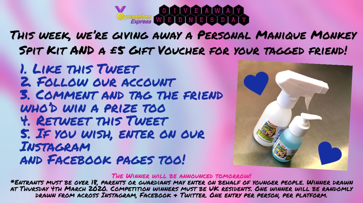 🎉 It's #GIVEAWAYWEDNESDAY  1️. Like this Tweet 2. Follow us 3. Tag a friend 4. Share this Tweet 5. Optionally enter on Facebook & Twitter #gymnasts #gymnastics #gymnasticsfun #artisticgymnastics #gymnasticsexpress #prize #fun #manique #MonkeySpit #Monkey