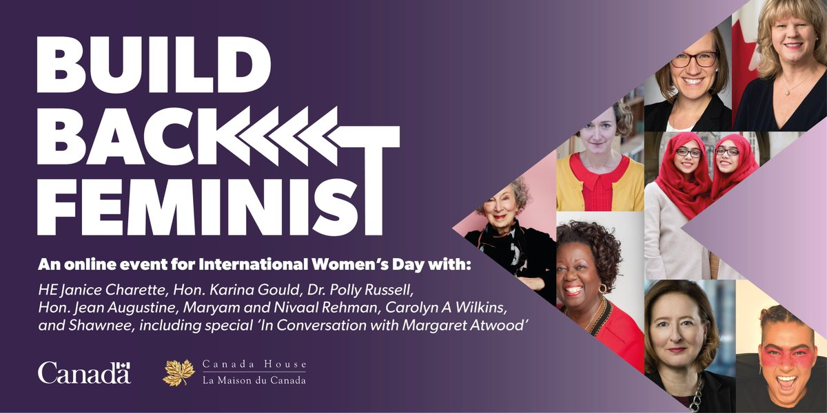 This is it! Join us for #BuildBackFeminist today at 3 pm GMT, with the inspiring:  🇨🇦 @JaniceCharette 🇨🇦 @karinagould 🗣️ @JeanAugustine07  🗣️ @theworldwithmnr 🗣️ #CarolynWilkins 👥 @MargaretAtwood 🗣️ @PollyRussell1 🎼  @shawneekish   Tune in on https://t.co/Ve5wdmOEJN. #IWD2021 https://t.co/CAvbDr4Dbl