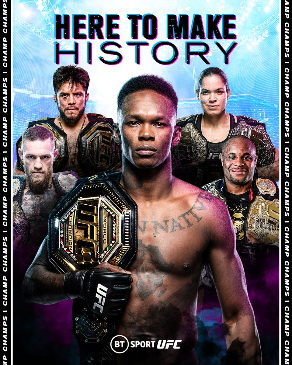 Chasing greatness 🏆🏆  Will Israel Adesanya become the fifth 'Champ Champ' in UFC history?  #UFC259 | Saturday | BT Sport 2 HD https://t.co/gy64gy8awO