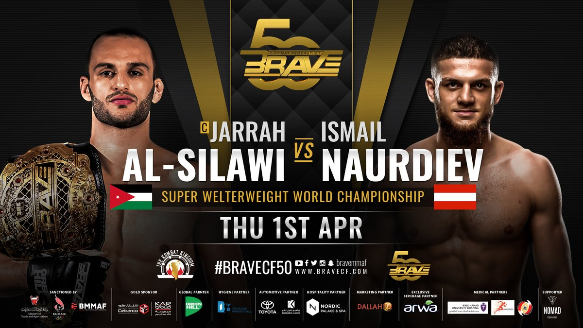 UFC veteran Ismail Naurdiev (@theautwonderboy) will challenge Jarrah Al-Silawi for the BRAVE CF Super Welterweight title on April 1st.  AND STILL or AND NEW?  #MMATwitter   #BRAVECF #MMA #FPMMA