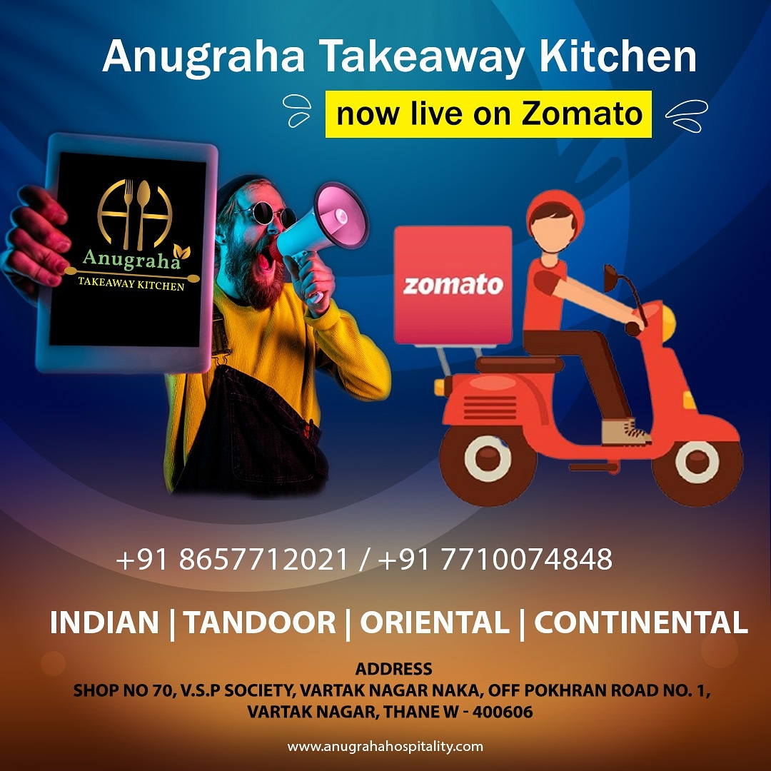 Good News!!! Anugraha Takeaway Kitchen is now available on Zomato as well.  Order now on Zomato or call us  . . . . #zomato #thane #foodie #food #instafood #indianfood #tasty #yummy #online #anugrahatakeawaykitchen