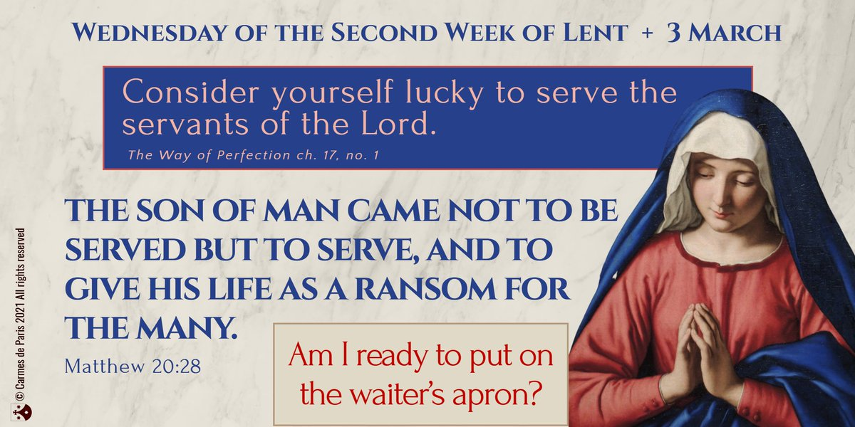 """✝️ #lentenjourney  Jesus said: """"The Son of Man came not to be served but to serve."""" We can ask ourselves today, """"am I ready to put on the waiter's apron?"""" ✝️ Join us"""