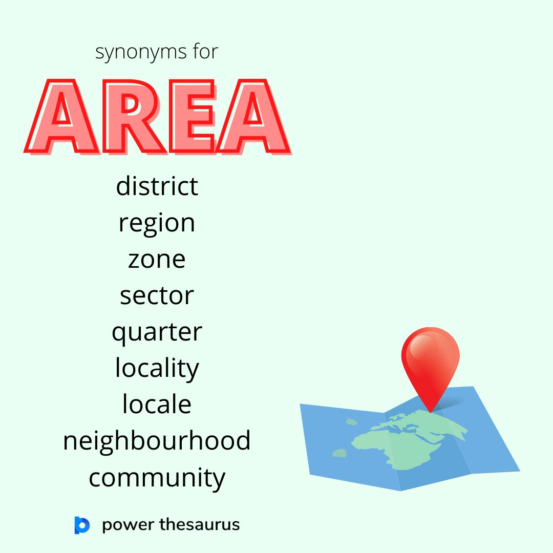 """Synonyms for """"area"""" asa region or part of a town, a country, or the world.    #learnenglish #writer #ieltspreparation #ielts #writers #thesaurus #synonym #englishvocabulary #synonyms"""