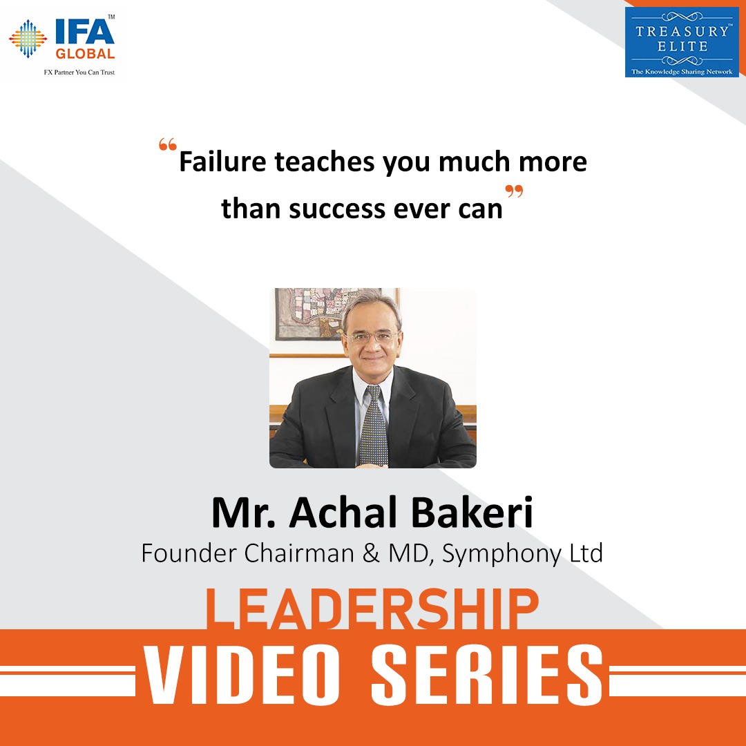 """Failure teaches you much more than success ever can"" - Mr. Achal Bakeri, Founder Chairman & MD, Symphony Ltd   Click here to watch the full video:   , , , #leadership #innovate #ashishchauhan #bse"