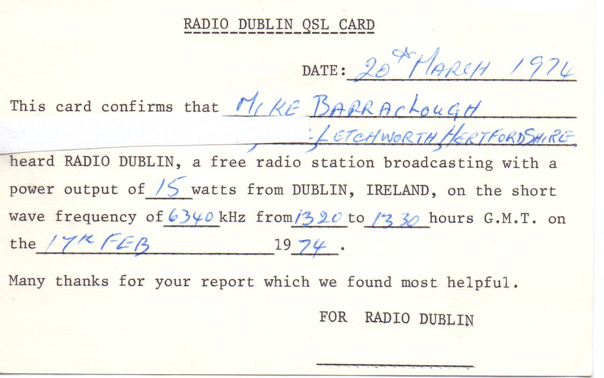 test Twitter Media - From our Pirate Pioneers series, here's a recording of Radio Dublin closing down in October 1972 following increased activity by the Department of Posts & Telegraphs. Prince Terry and Mark T do the honours: https://t.co/bauXCYKw1R @LongLivePirates @BillEbrill @ukdxer https://t.co/G0gBwpQSnG