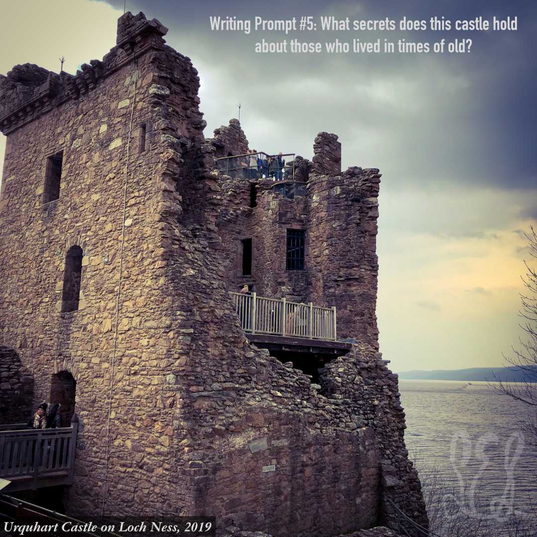 Today's writing prompt is inspired by my visit to Loch Ness in 2019. Happy story storming!  #writingcommunity #writer #writinginspiration #writingprompts #fantasyfiction #historicalfiction #castles #castlesofscotland #lochness