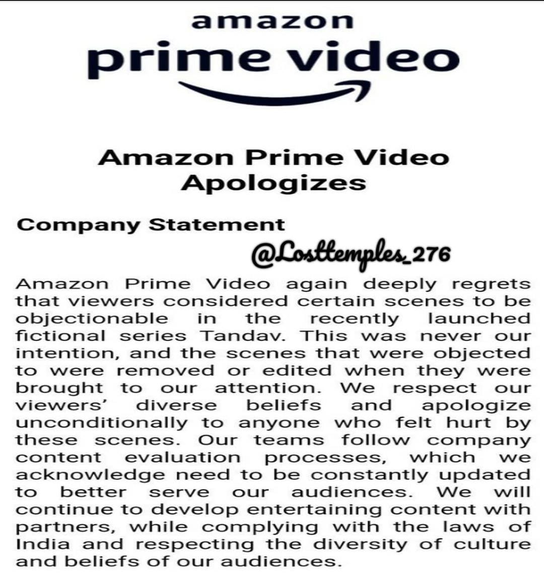 Now @PrimeVideoIN issues unconditional apology after they found that even Allahabad HC, who denied bail to Amazon Prime country head, seem to be aware of gems of Bollywood  Do you trust this apology?