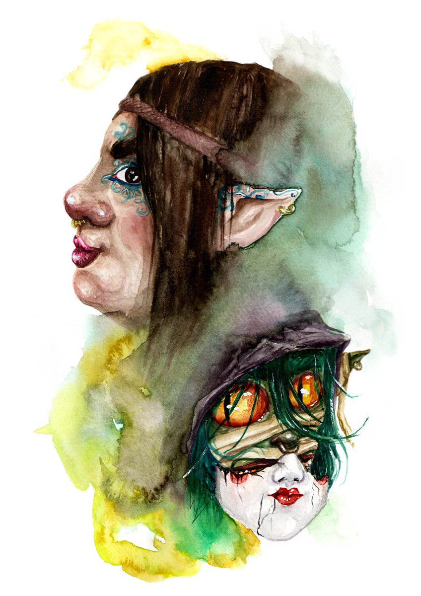 Here's our Nott Veth piece painted in watercolour, it'll be available as prints in our next shop update. Inspired by the awesome guys at @CriticalRole and specifically @samriegel hope you like it. #criticalrolefanart #CriticalRoleArt #Criticalrole