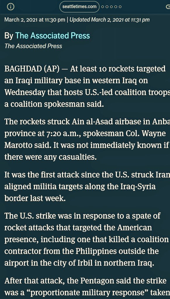 At least 10 rockets targeted an Iraqi military base in western Iraq on Wednesday that hosts U.S.-led coalition troops. #CurrentEvents #Iraq #Iraqbombing #Rock #Politics
