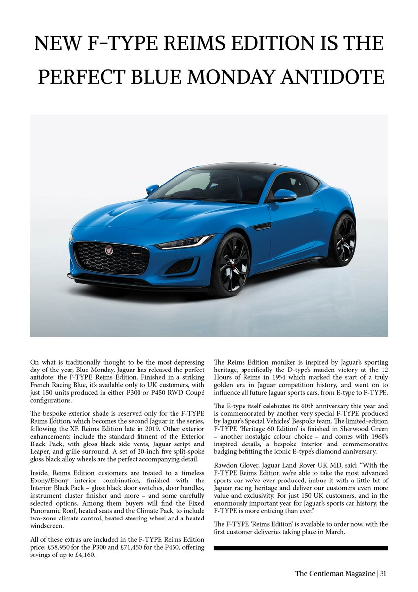 Discover the New F-Type Reims Edition, The Perfect #blueMonday Antidote by @JaguarUK Find out more in the latest edition now by reading either Online for FREE:  On Readly:  or in Print:  @JaguarUKPR