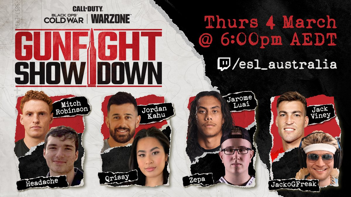 WHO'S READY FOR THE @CallofDuty_ANZ GUNFIGHT SHOWDOWN?  This Thursday @ 6pm AEDT, we've got some of ANZ's most well known CoD players battling it out 2v2. Catch it at https://t.co/2MHsGe9oIU https://t.co/KPZLnVxlWD