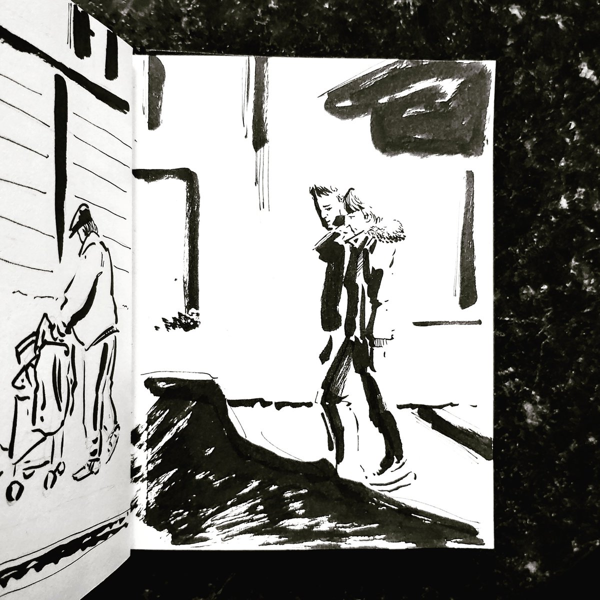 From the Inside 2 Day 150 (268 total) #isolation study Kitchen window Passerby No 162/163 #isolationlife #stayathome #lockdown #lockdown2uk #sketchbook #sketch #drawing #draw #doodle #ink #lineart #lifedrawing #figuredrawing #walk #artoftheday #art #artwork #artist #illustration