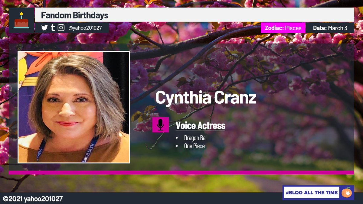 Happy Birthday to the English Voices of both Bell-mère on One Piece and Chi-Chi on Dragon Ball, DBZ, DBZ Kai, Dragon Ball Super, and Dragon Ball GT, Voice Actress @CynthiaCranz. #OnePiece #DragonBall #DragonBallZ #DBZKai #DragonBallSuper #Anime #FandomBirthdays
