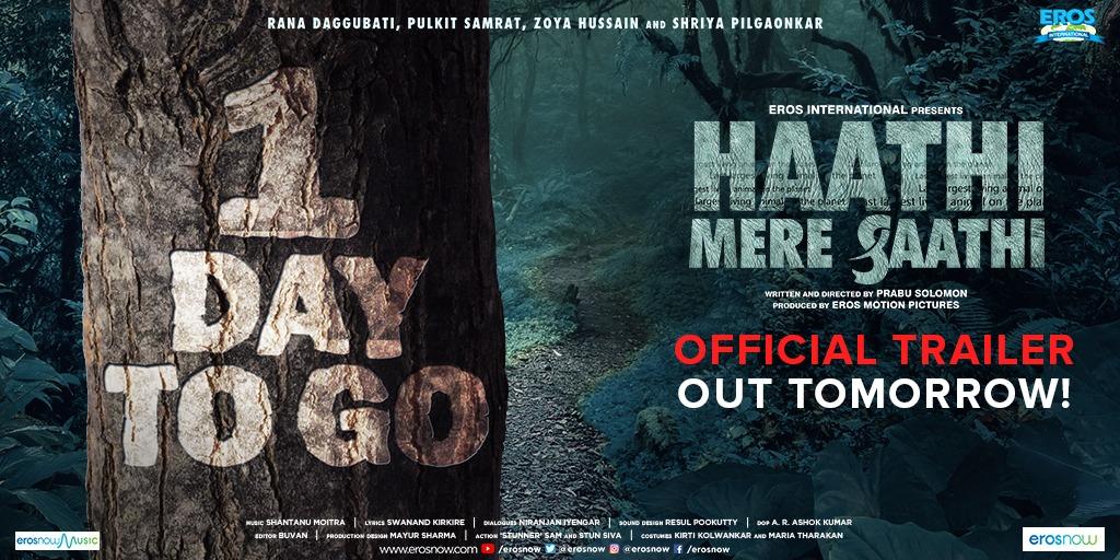 Can you hear the trumpets roar? Watch the Hindi trailer of 2021s first trilingual film Haathi Mere Saathi, out tomorrow! #SaveTheElephants #HaathiMereSaathi @RanaDaggubati @PulkitSamrat #PrabuSolomon @zyhssn @ShriyaP @ErosSTX @ErosMotionPics @ErosNow