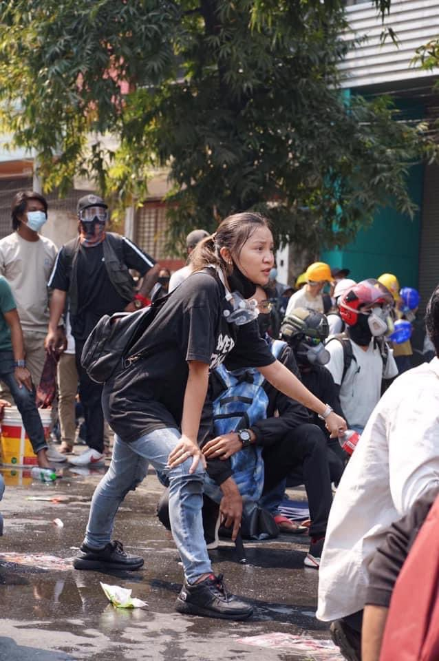 """This 19yo protestor was shot and killed by military thugs today in Mandalay. Her shirt says """"Everything will be OK"""".  Coca Cola bottle in her hand is to help to those who got hit by tear gas.   She sacrificed her life to teach us there is a hope.   This is a must-win revolution."""