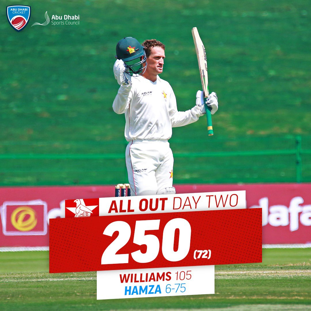 End of innings 🤝  @ZimCricketv captain Sean Williams' impressive century lifts his side to a lead of 1️⃣1️⃣9️⃣ against @ACBofficials ☀️  #AFGvZIM #AbuDhabiSunshineSeries #InAbuDhabi