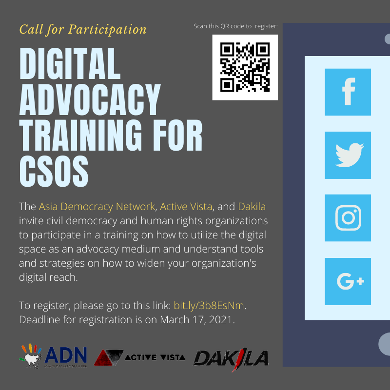 Call for participation! --> @adn_asia is calling for CSOs from #Philippines, #Malaysia, #Indonesia, #Thailand, and #Cambodia to attend a digital advocacy training on March 22 & 24. Register here before March 17! 👇https://t.co/204xt6V86Q