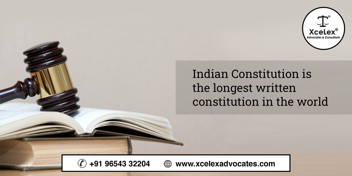 Indian constitution is the longest written #constitution in the world which originally had 395 articles, divided into 22 parts and 8 schedules.  Follow @xcelexadvocates for more such insightful updates!  #XceLexadvocates #constitutionofindia #advocates #law #legaltips https://t.co/O7Ii7wAzcK
