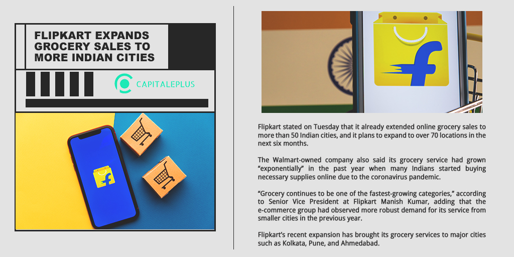Walmart's Flipkart will expand its online grocery sales to more Indian cities to better compete against Amazon and Reliance in the growing e-commerce industry.  Refine your trading knowledge at Capitale Plus!   #Walmart #FlipkartSale #finance #investing