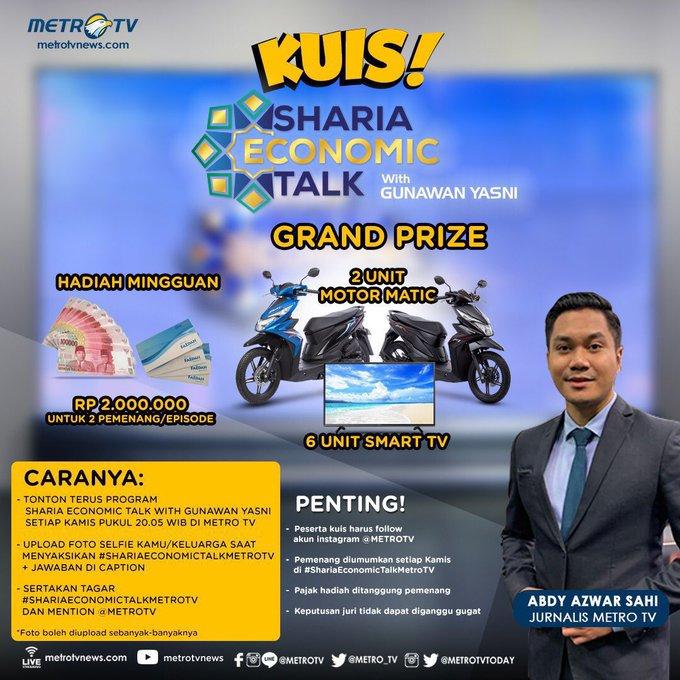AYO ikut kuis #ShariaEconomicTalkMetroTV!  Kamu bisa menangkan hadiah mingguan uang tunai Rp2.000.000 untuk 2 pemenang/episode dan GRAND PRIZE 2 unit motor matic dan 6 unit smart tv. Simak cara dan ketentuannya berikut ini ya! #kuis