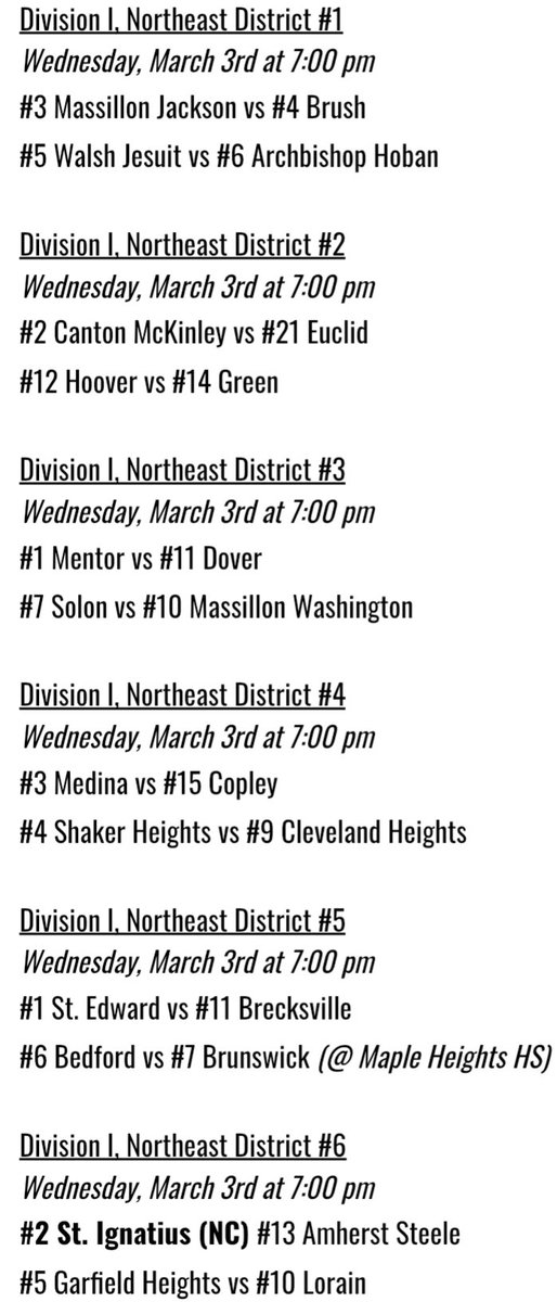 Wednesday, 3/3 NEO Playoff Schedule 🏀   Here is tonight's schedule for the Division I district semifinal round!