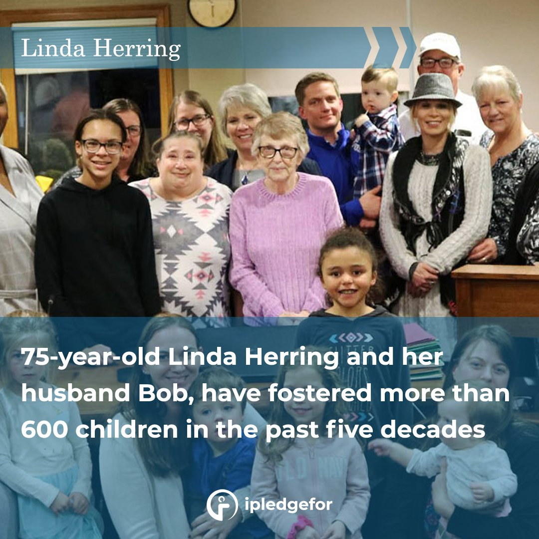 75-year-old Linda Herring and her husband Bob, have fostered more than 600 children in the past five decades.  #motivational #wednesdaythought #Wednesdayvibe #Wednesday #evening #MotivationalQuotes #motivation #help #cause